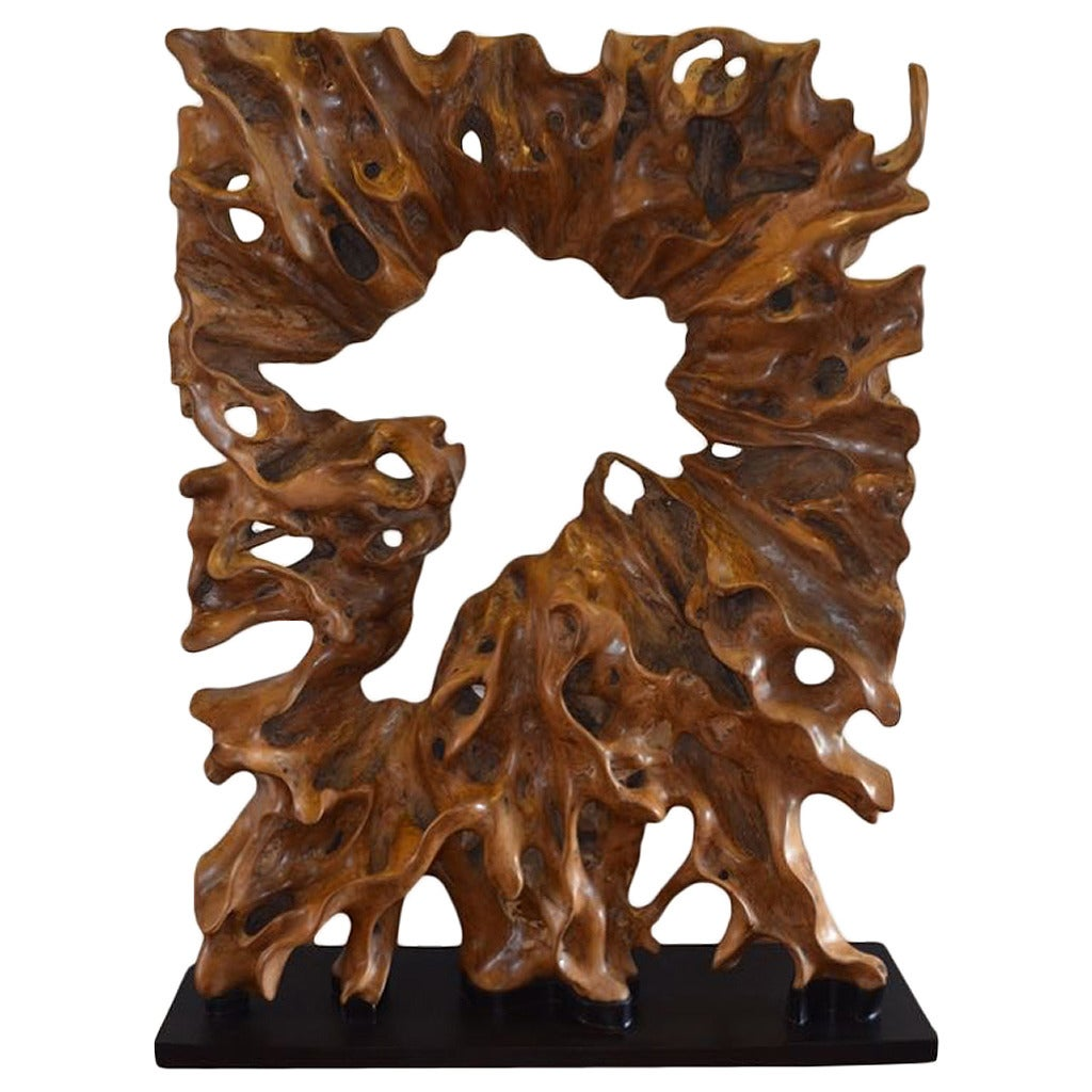 single teak wood root sculpture on modern steel base for sale at 1stdibs. Black Bedroom Furniture Sets. Home Design Ideas