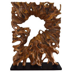 Andrianna Shamaris Single Teak Wood Root Sculpture on Modern Steel Base