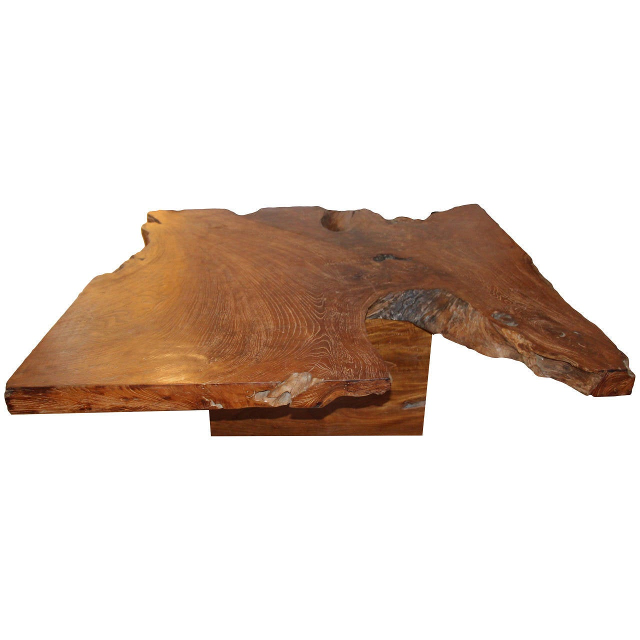 Andrianna Shamaris Single Slab Top Organic Teak Wood Coffee Table For Sale At 1stdibs
