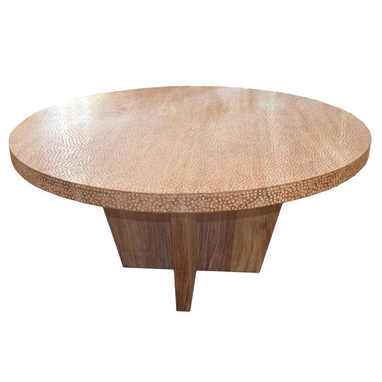 Andrianna Shamaris Shell Inlay Teak Wood Dining Table For Sale