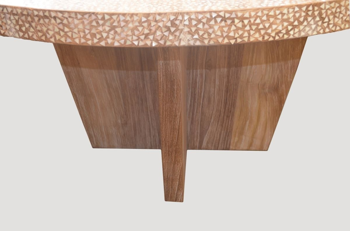 Inlaid Dining Table Shell Inlay Teak Wood Dining Table For Sale At 1stdibs