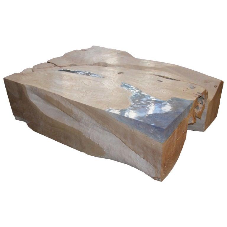 Andrianna Shamaris St. Barts Bleached Teak Wood and Aqua Resin Coffee Table For Sale