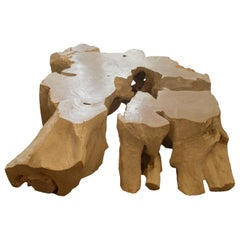 Andrianna Shamaris St. Barts Bleached Teak Wood Puzzle Coffee Table