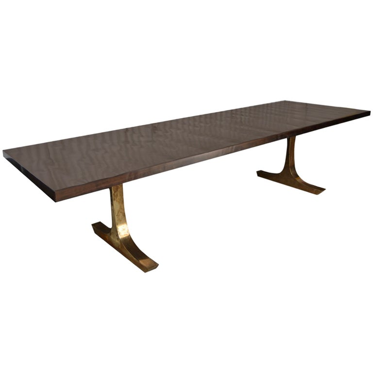 Andrianna Shamaris French Polished Dining Table With Bronze Legs For Sale