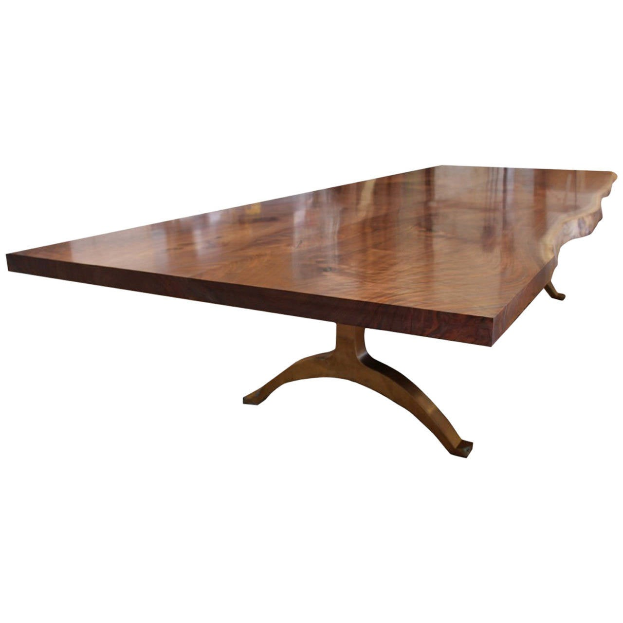 Andrianna Shamaris Walnut Dining Table with Bronze Legs For Sale