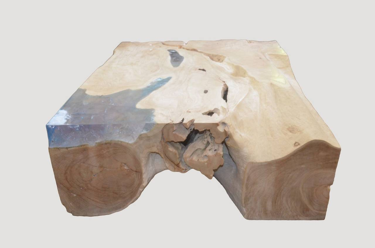 Andrianna Shamaris St. Barts Bleached Teak Wood and Aqua Resin Coffee Table In Excellent Condition For Sale In New York, NY