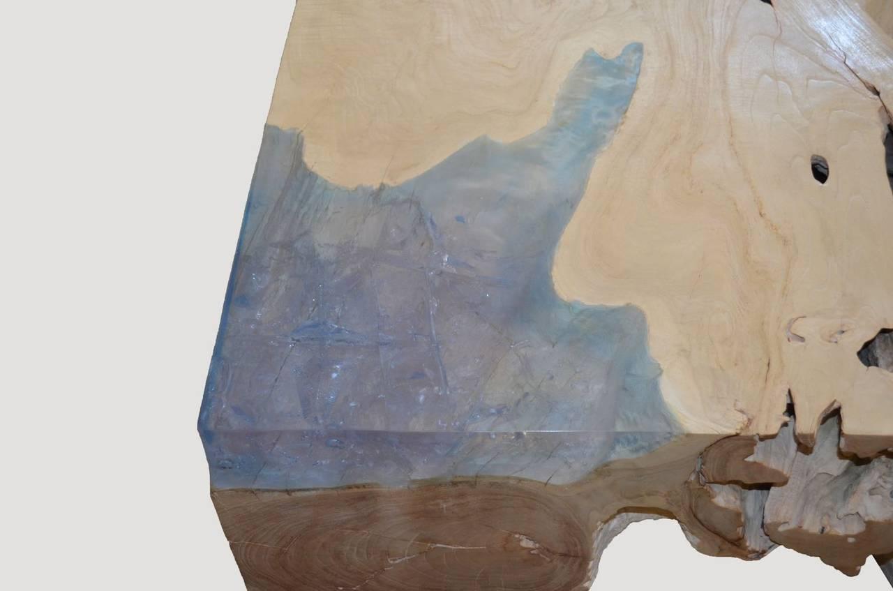 Organic Modern Andrianna Shamaris St. Barts Bleached Teak Wood and Aqua Resin Coffee Table For Sale