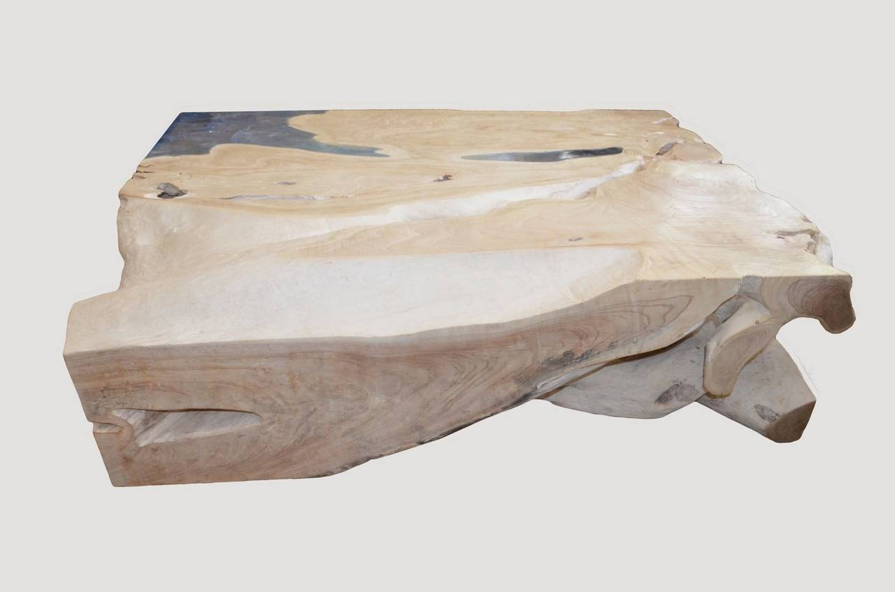 Contemporary Andrianna Shamaris St. Barts Bleached Teak Wood and Aqua Resin Coffee Table For Sale