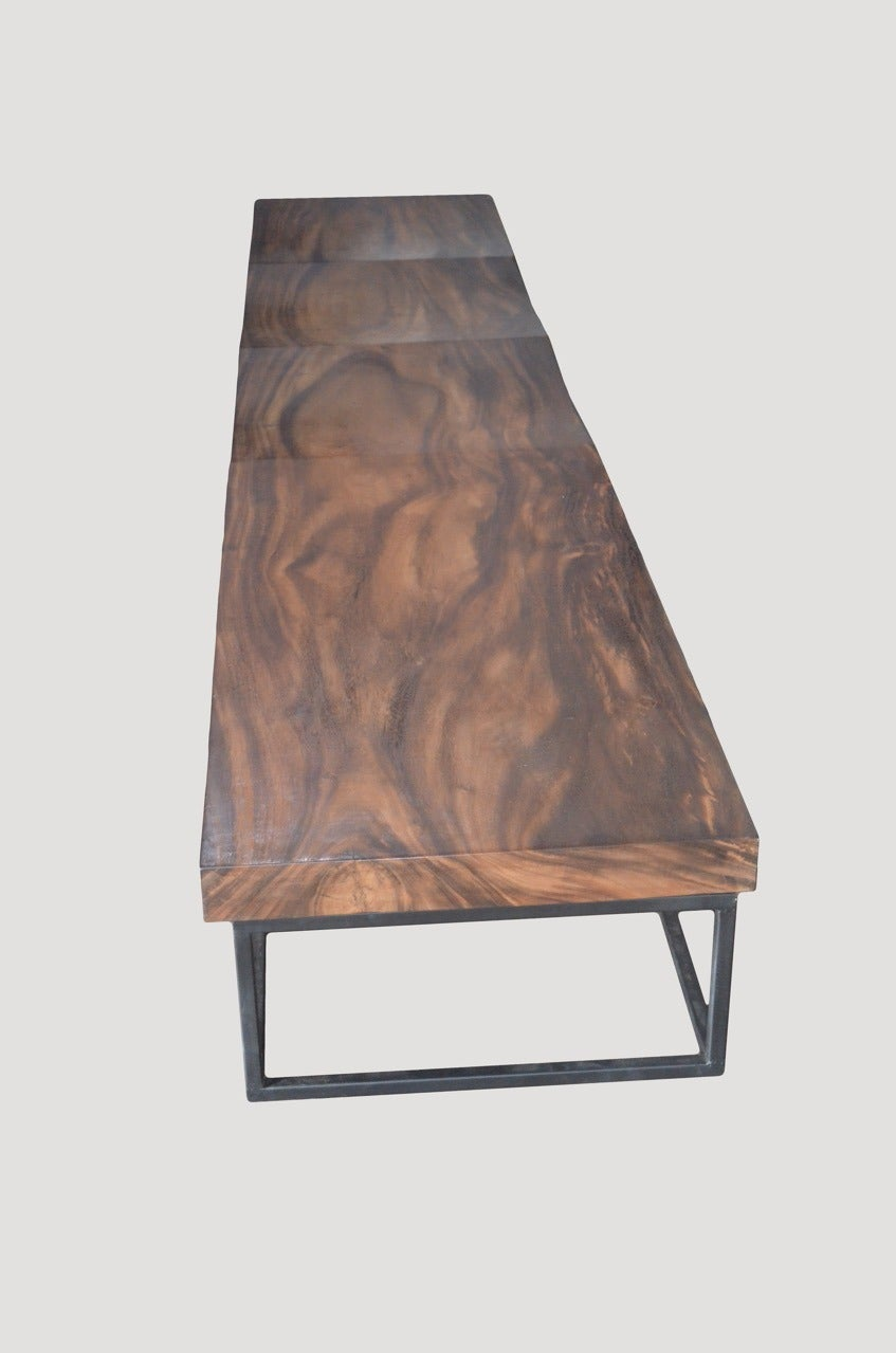 Andrianna Shamaris Single Slab Suar Wood Long Wave Bench For Sale At 1stdibs