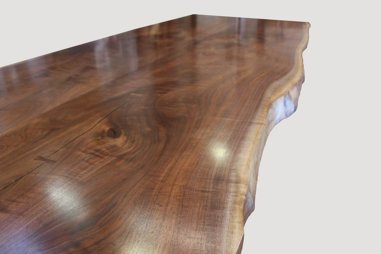 Modern Andrianna Shamaris Walnut Dining Table with Bronze Legs For Sale