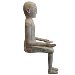Antique Teak Wood Hand-Carved Sitting Man Statue