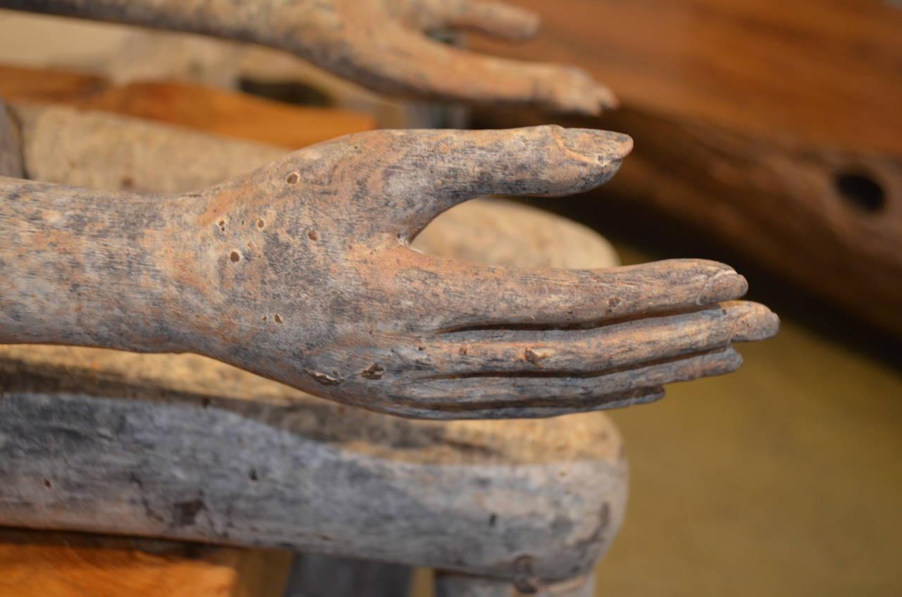 Antique teak wood hand carved sitting man statue at stdibs