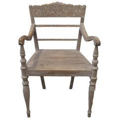Andrianna Shamaris Raffles Teak Wood with Shell Inlay Chair