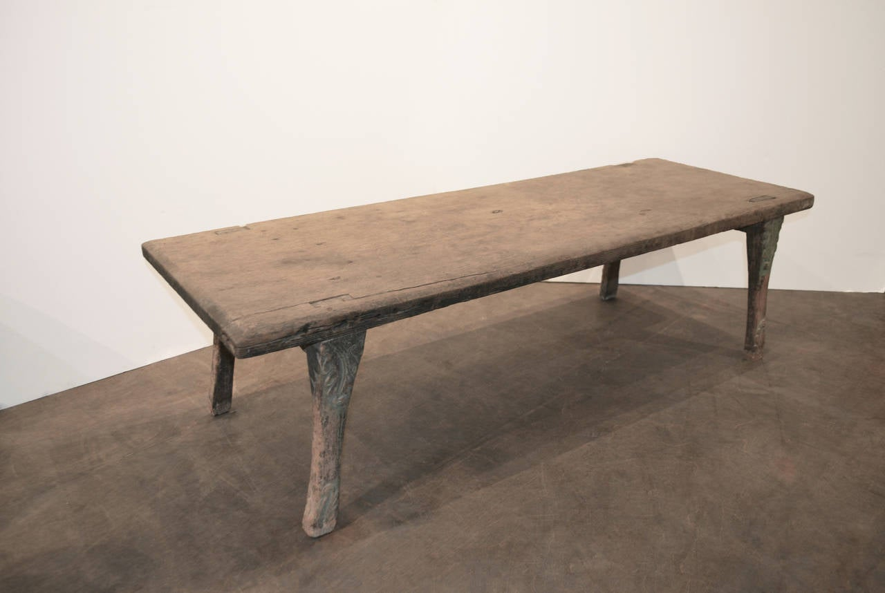 Antique Bench Coffee Table Made From Single Teak Slab At 1stdibs
