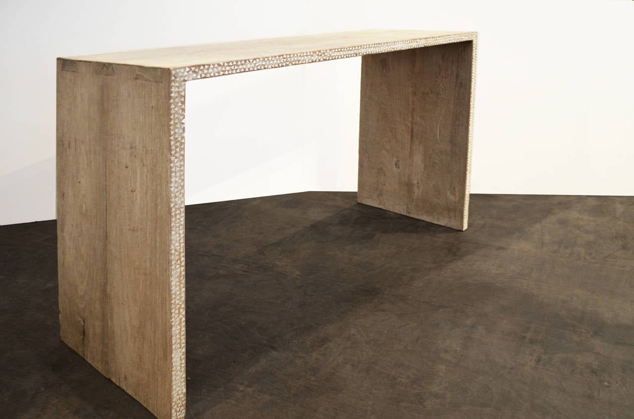 Weathered teak console table with shell inlay at stdibs