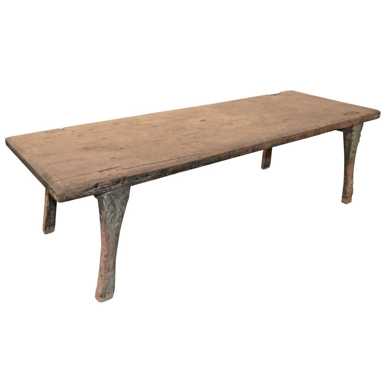 Vintage Wood Slab Coffee Table At 1stdibs: Antique Bench Or Coffee Table Made From A Single Teak Slab