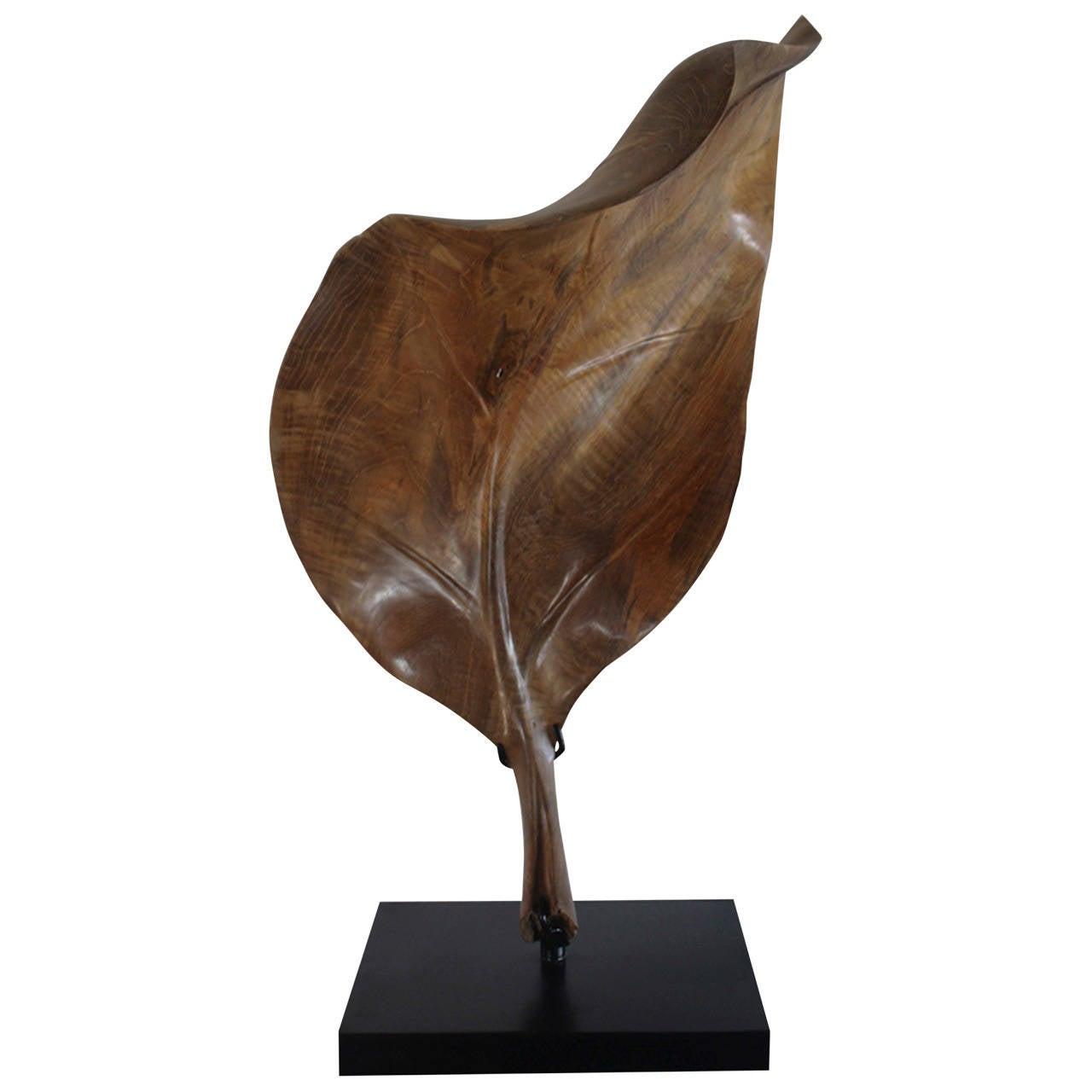 Hand carved teak wood leaf sculpture at stdibs