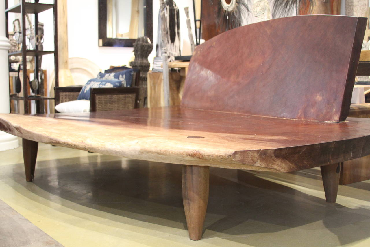 Rare Daybed With A 4u2033 Single Slab Base Made From Mahoni Wood With Mid  Century