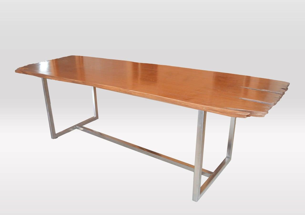 live edge teak wood single slab dining table for sale at 1stdibs