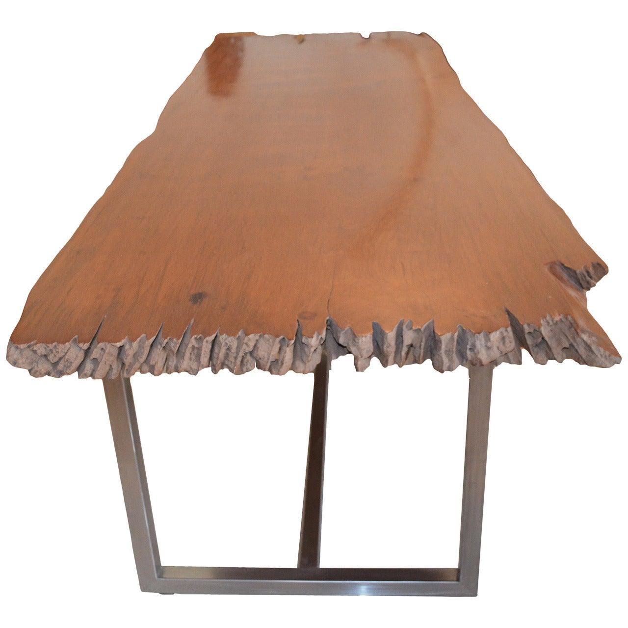 Andrianna Shamaris Live Edge Teak Wood Single Slab Dining Table
