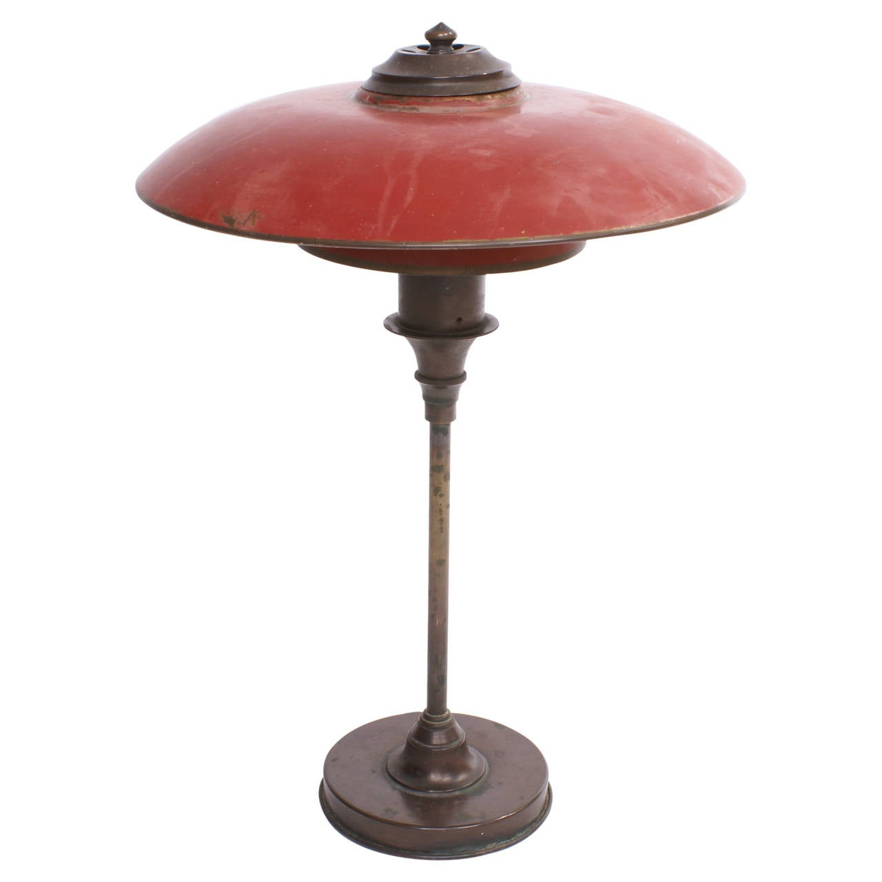 Lyfa 1920s Desk Lamp with Red Bronze Shades For Sale at