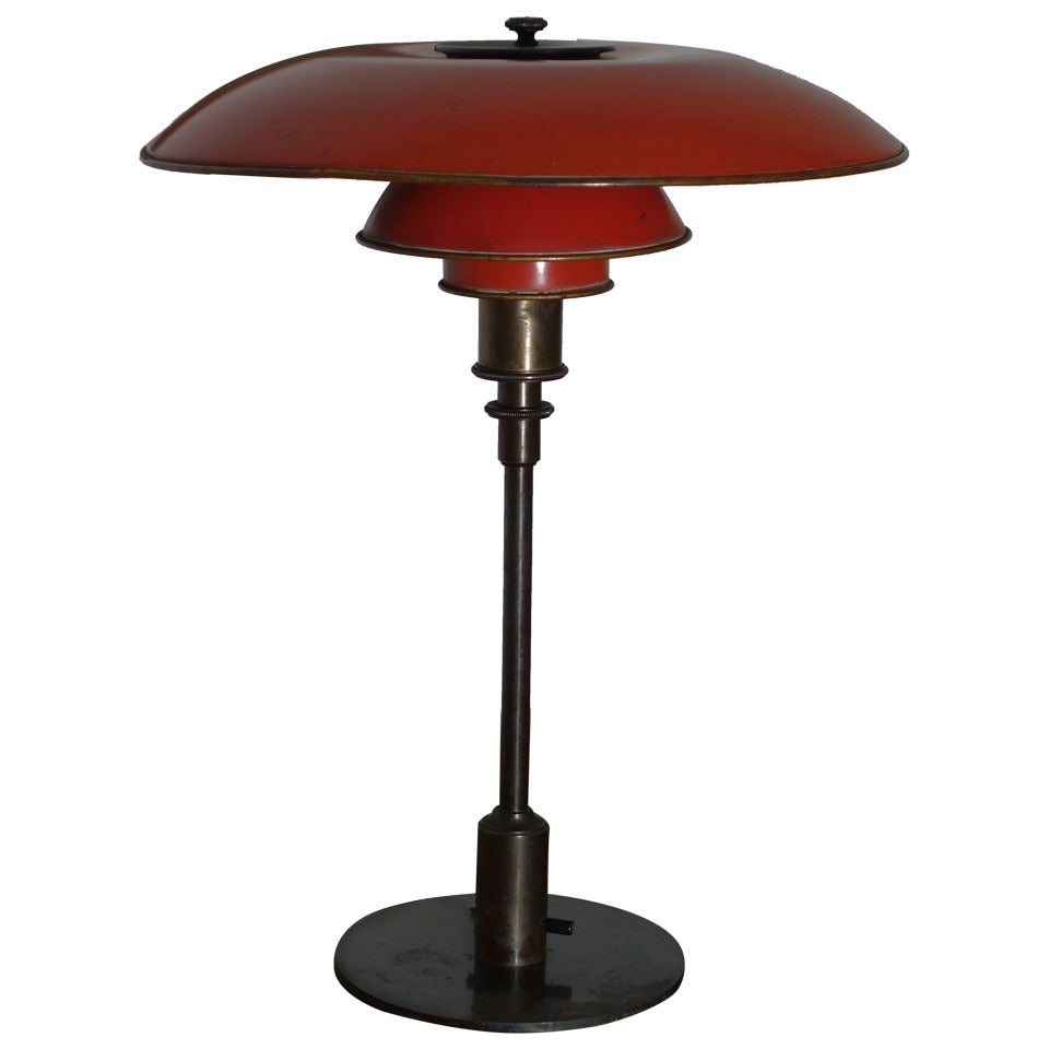 poul henningsen desk lamp with red copper shades at 1stdibs. Black Bedroom Furniture Sets. Home Design Ideas