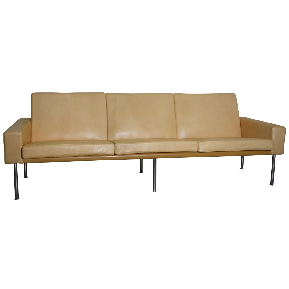 Hans Wegner Three Seater Sofa In Natural Leather At 1stdibs