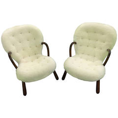 Philip Arctander Pair of Clam Easy Chairs in Sheepskin