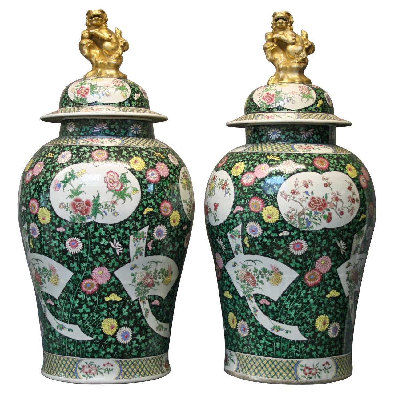 A Large Pair Of Chinese Style Famille Verte Samson Temple