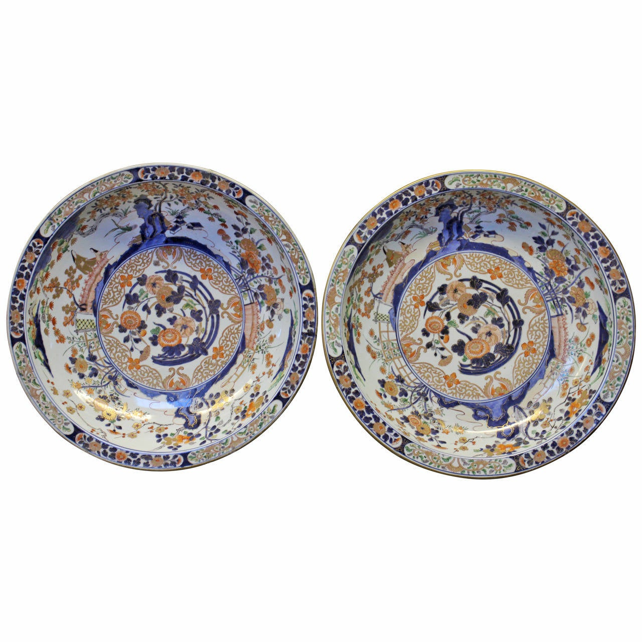 A Pair Of Very Large 17th Century Japanese Imari Plates At