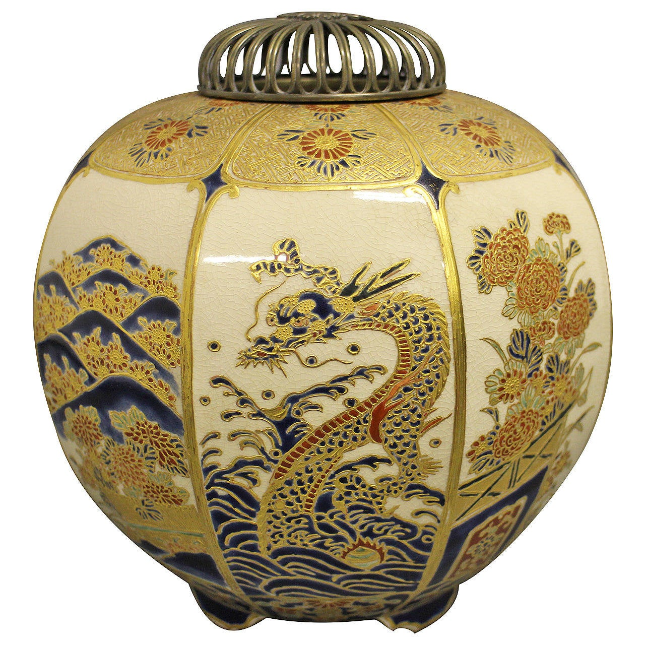 Japanese Imperial Satsuma Koro Decorated With A Dragon At