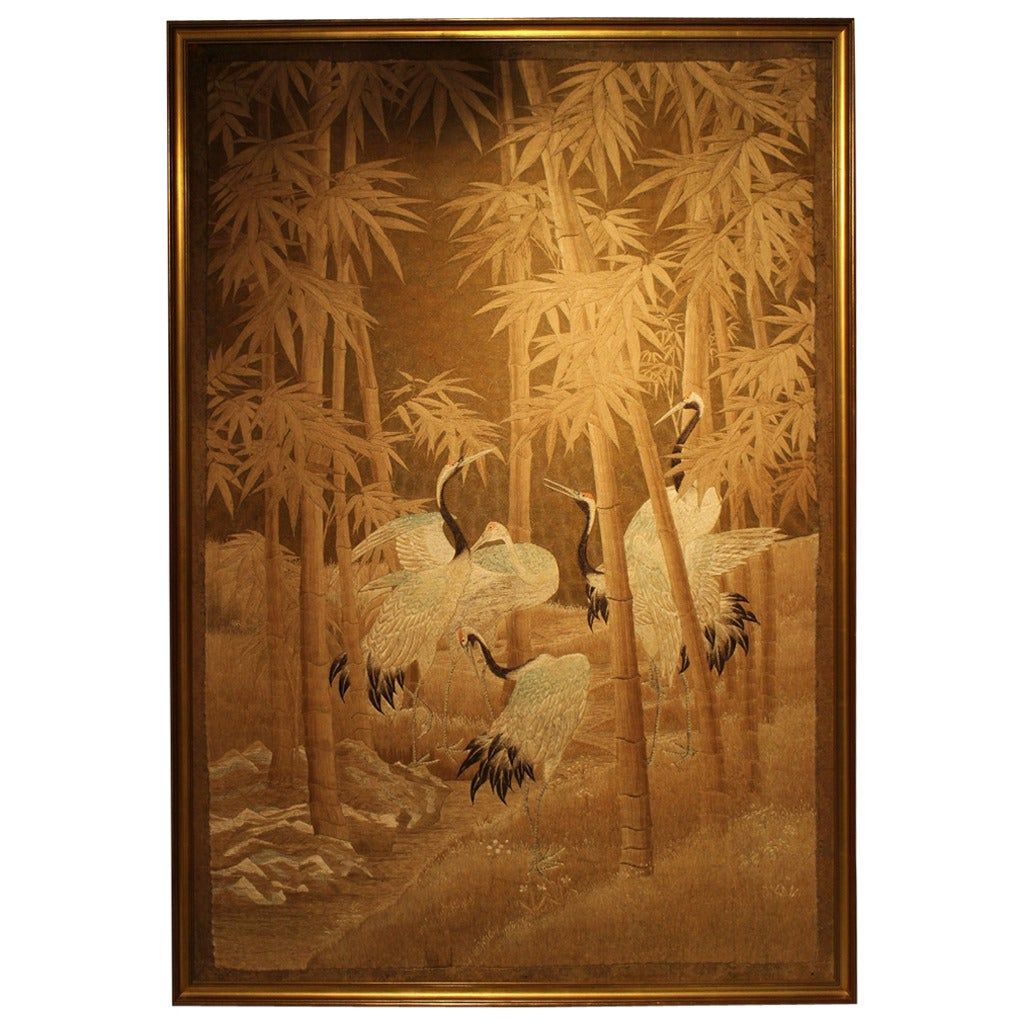 Large Japanese Silk Embroidery Of Cranes In A Bamboo