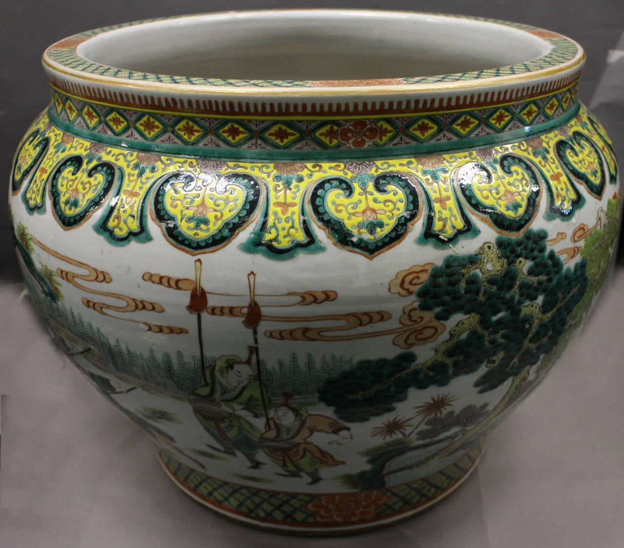 Large Chinese Famille Verte Fish Bowl Jardini Re For Sale
