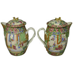 Pair of Cantonese Jugs and Lids
