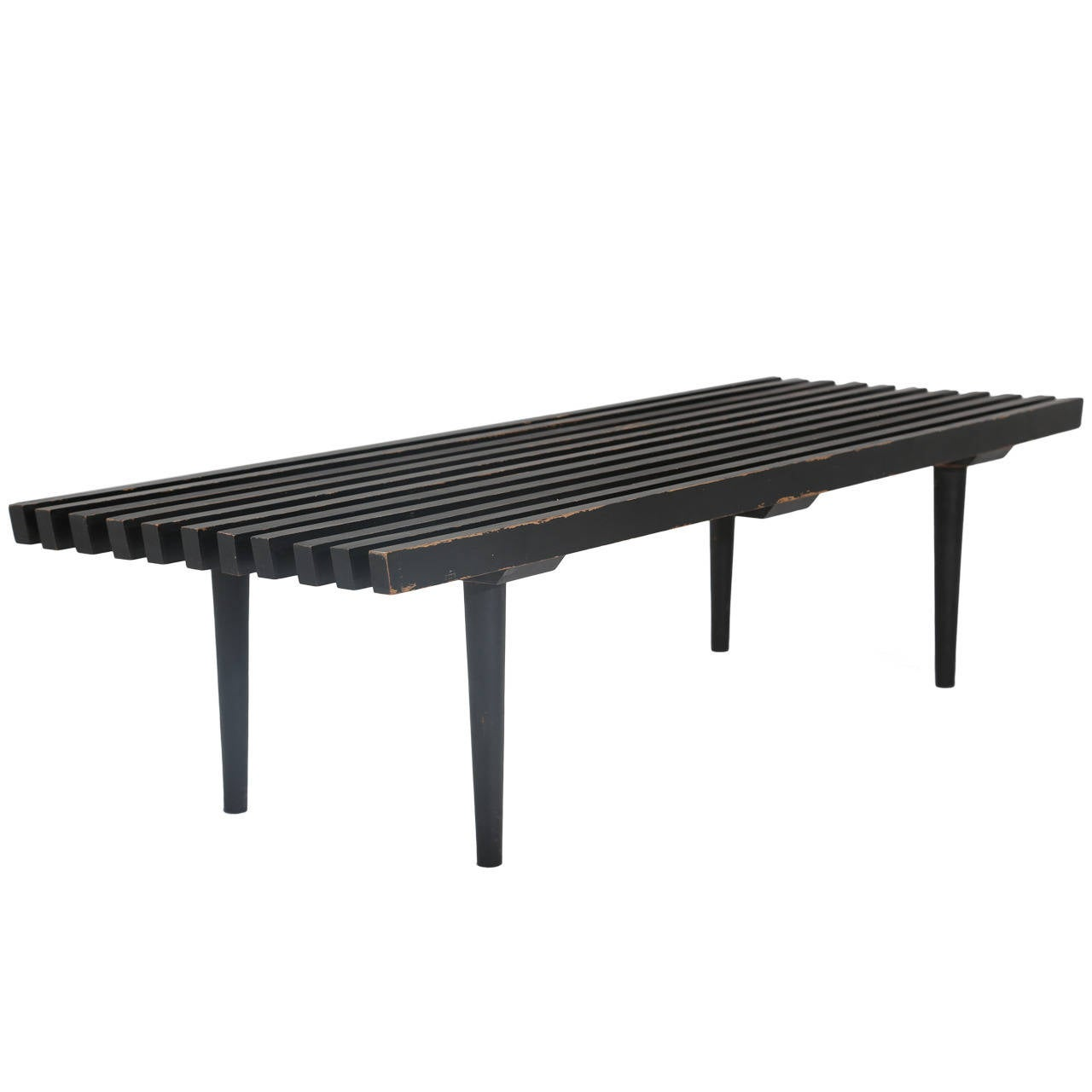 Black Slatted Wood Bench At 1stdibs