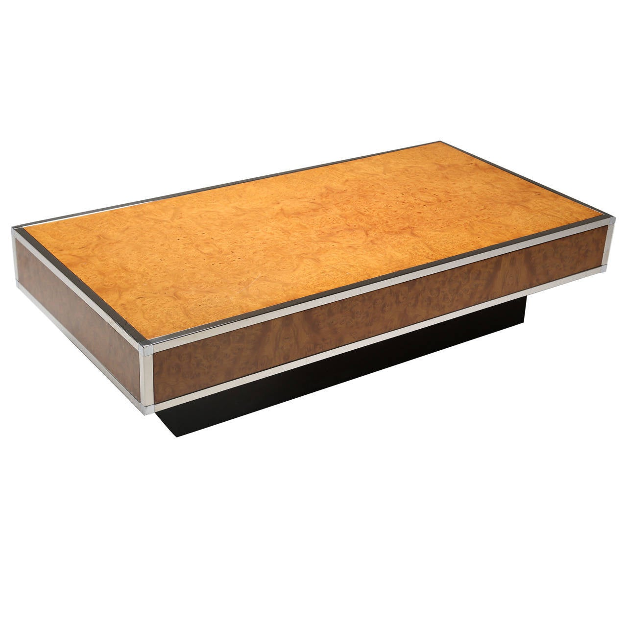 French Walnut And Chrome Coffee Table For Sale At 1stdibs