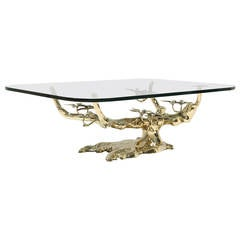 Willy Daro Style Brass Bonsai Coffee Table