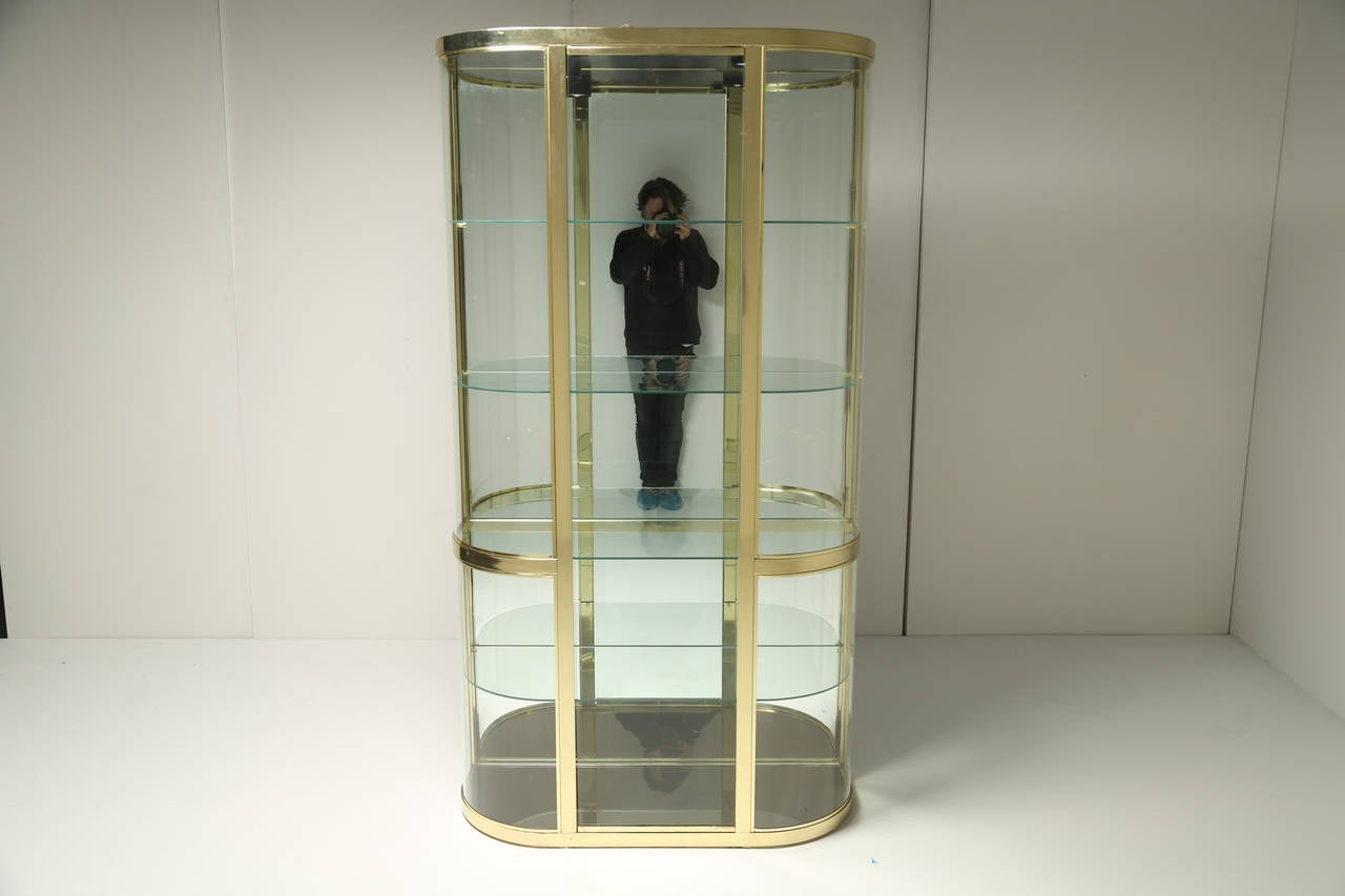 Metal Glass Display Cabinet Curved Glass And Brass Dia Vitrine Display Cabinet At 1stdibs