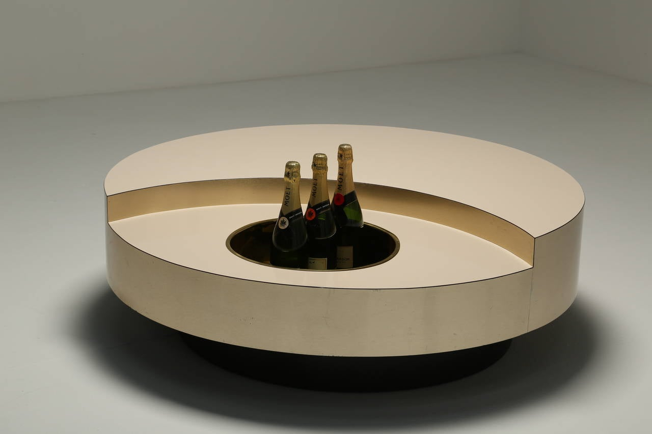 Willy rizzo trg revolving coffee table at 1stdibs for Table willy rizzo