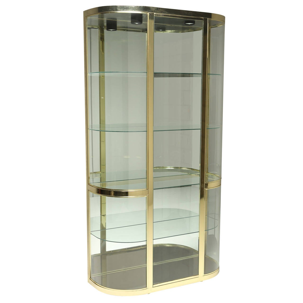 Curved Glass And Brass Dia Vitrine Display Cabinet At 1stdibs