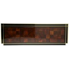 French Patchwork and Black Lacquer Sideboard with Brass Trim