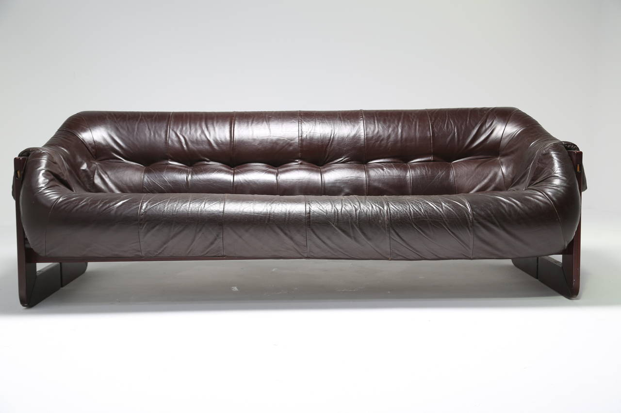 Leather And Rosewood Percival Lafer Sofa