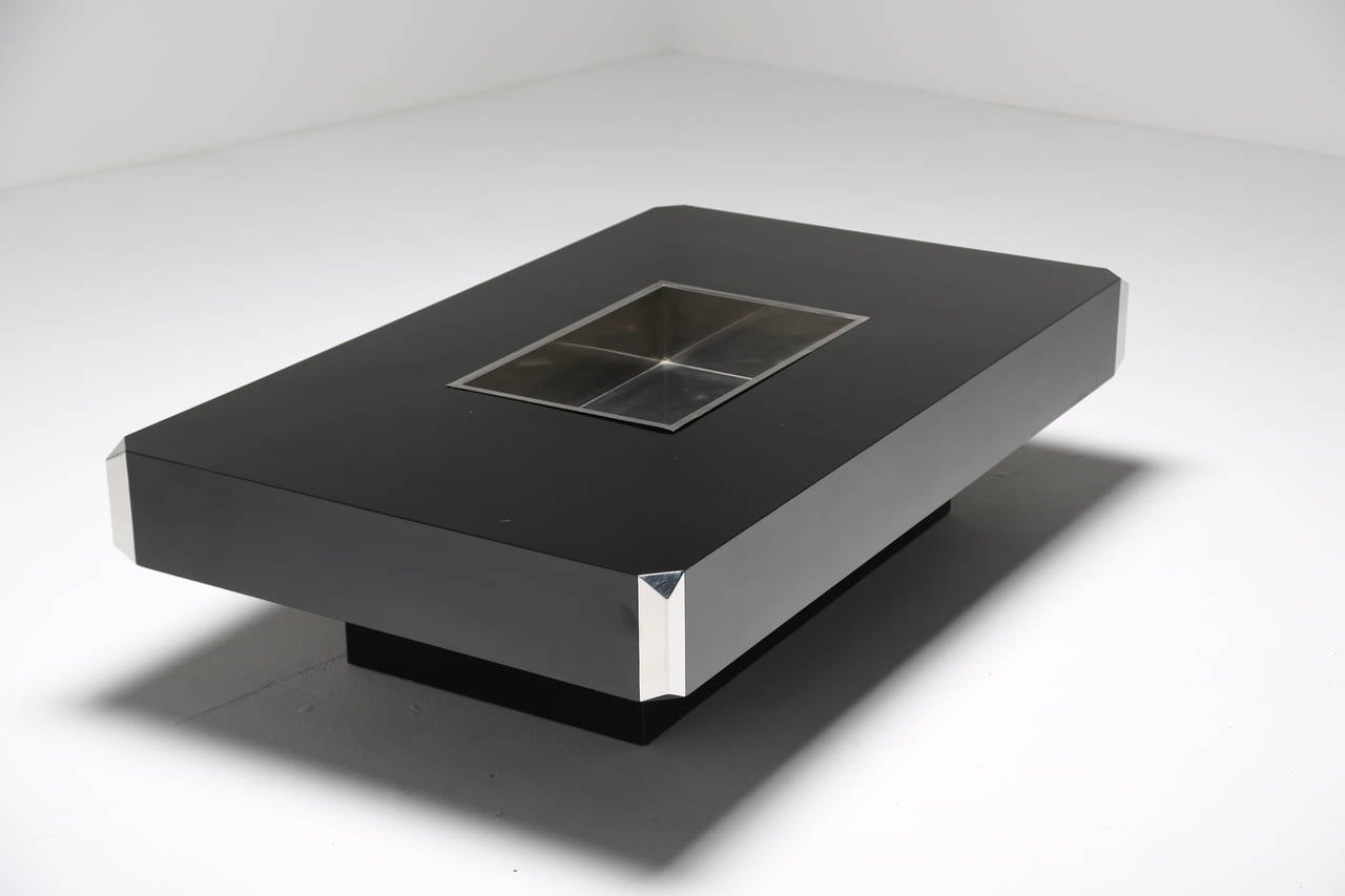A black and chrome cocktail table by mario sabot at 1stdibs Black and chrome coffee table