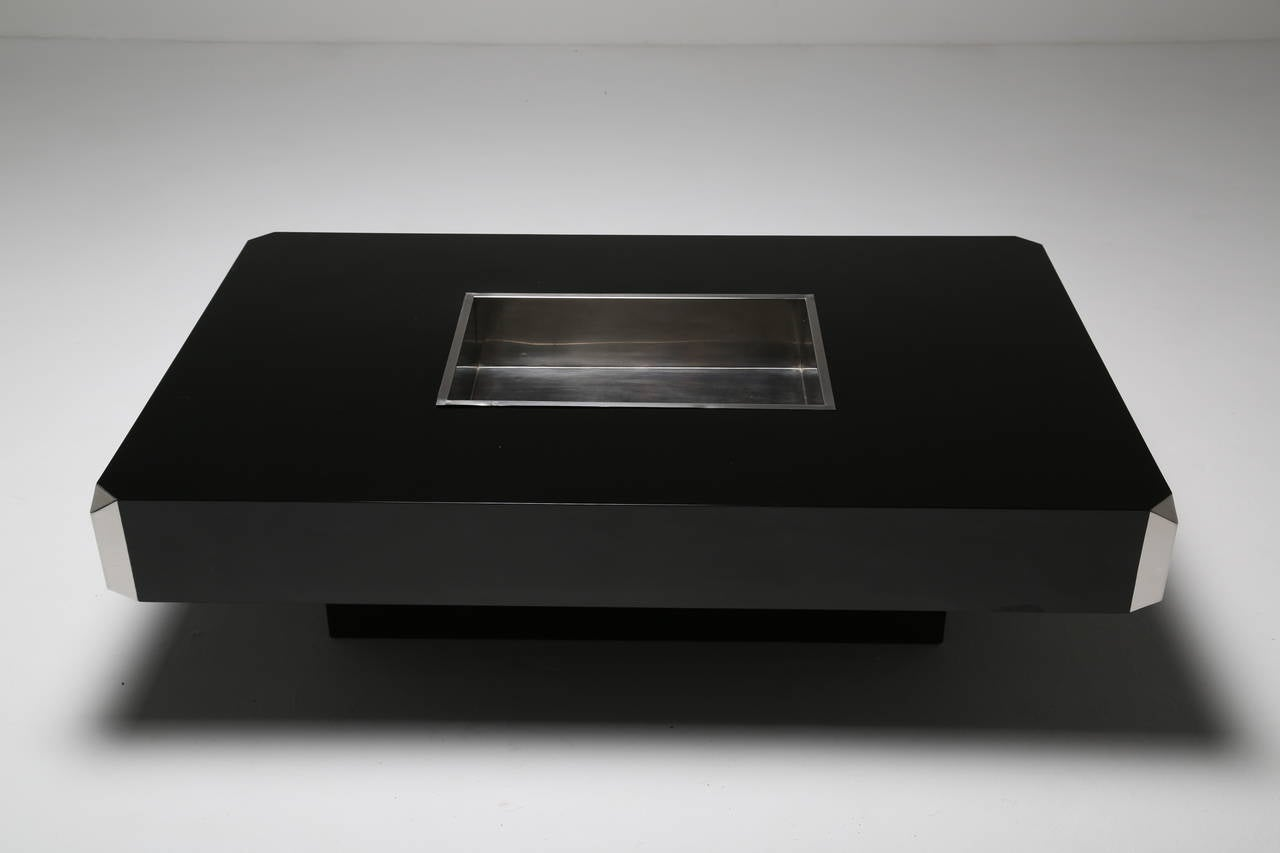 A Black And Chrome Cocktail Table By Mario Sabot At 1stdibs
