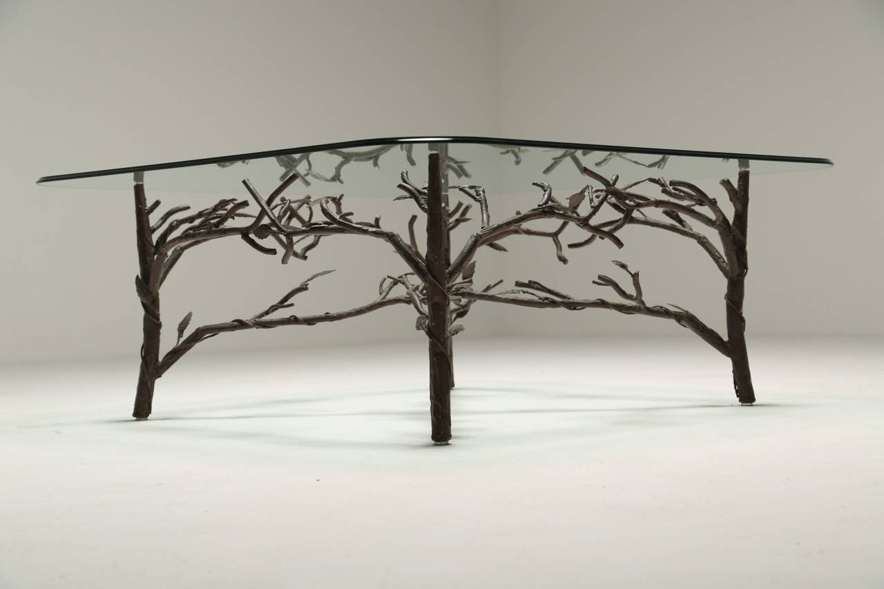 An Organic Branch And Leaf Style Coffee Table With Painted Bronze Finish The Original Hand