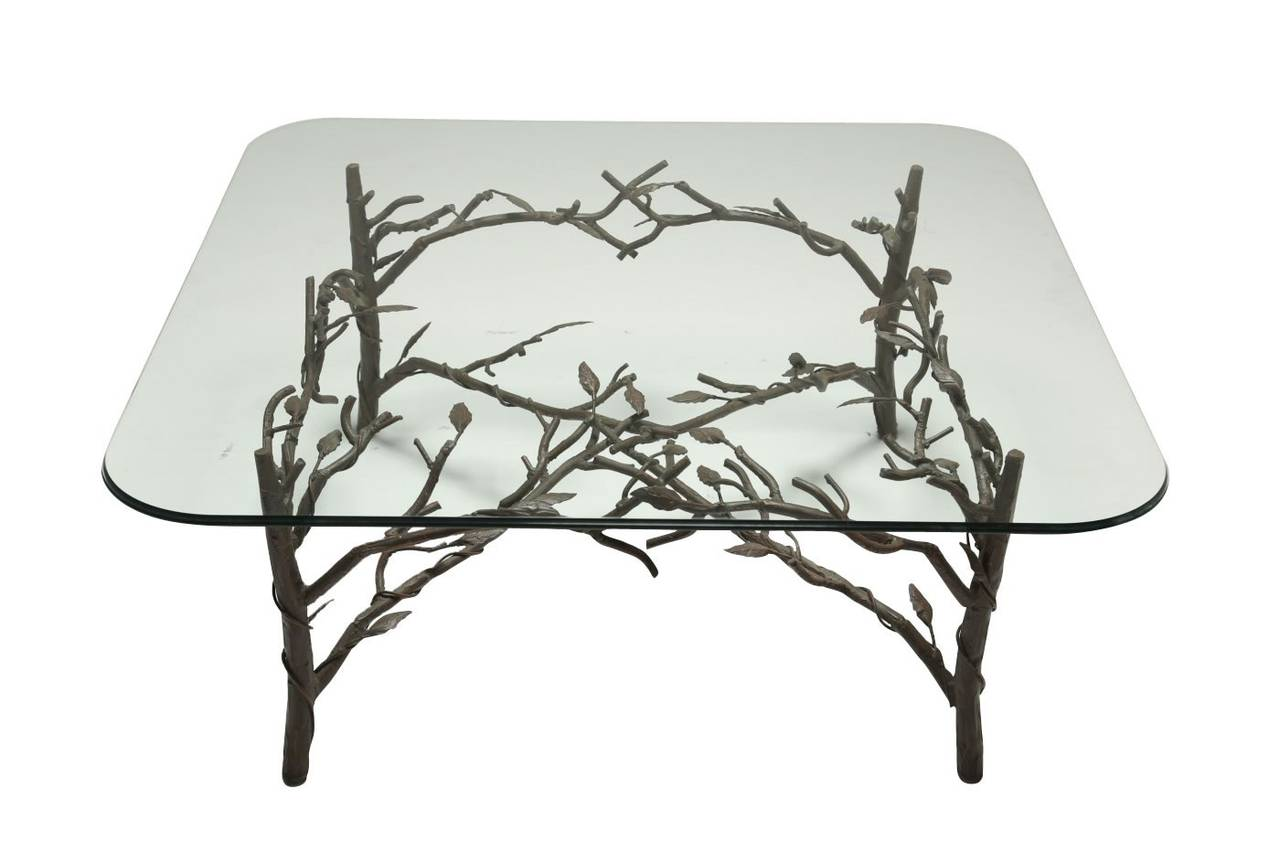 Glass Coffee Table With Metal Branch And Leaf Base At 1stdibs