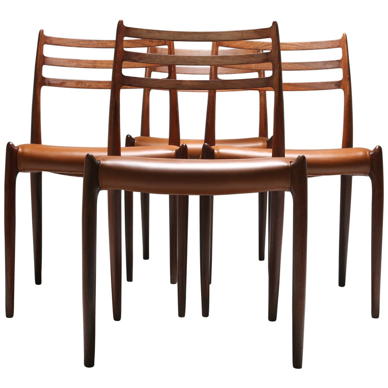 Set Of Four Rosewood Niels Moller No 78 Vintage Danish Dining Chairs 1