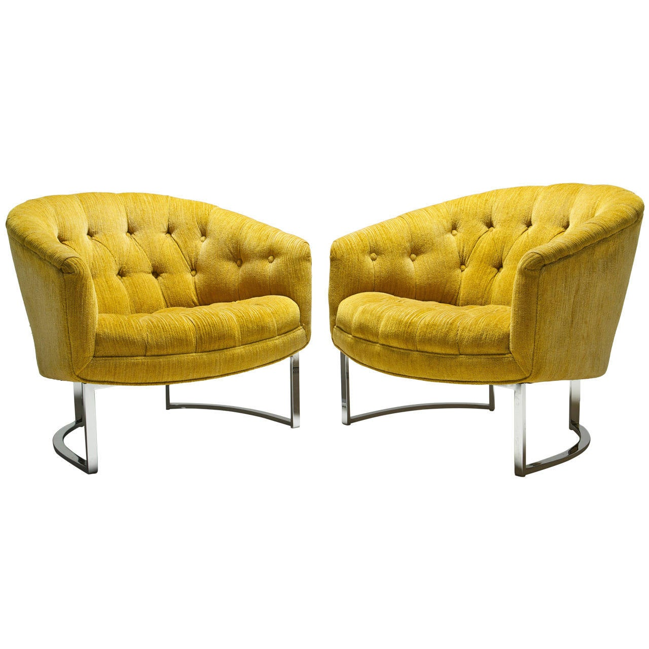 Yellow and Chrome Baughman Style Tufted Lounge Chairs at 1stdibs