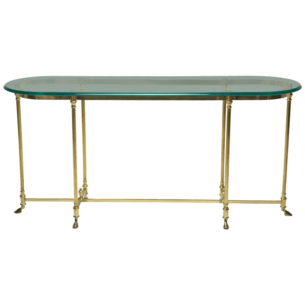 a brass labarge hollywood regency console table with hoof feet at