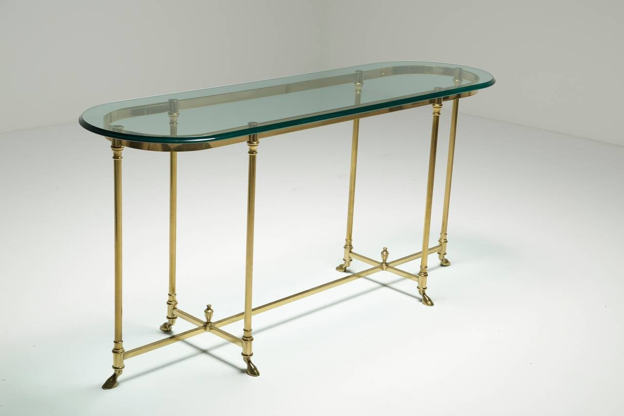 A brass labarge hollywood regency console table with hoof for 5 foot console table
